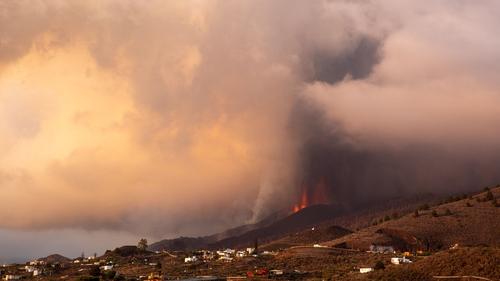 The Cumbre Vieja volcano has spewed rock and lava into the air on La Palma