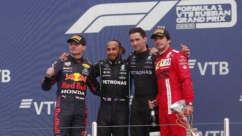 Hamilton, Verstappen and Carlos Sainz on the podium