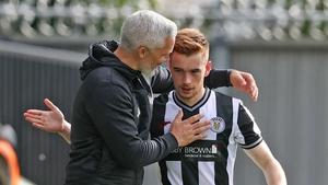 Goodwin congratulates Ronan after his two-goal display against Aberdeen