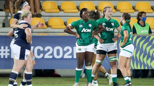 Ireland players dejected after defeat to Scotland