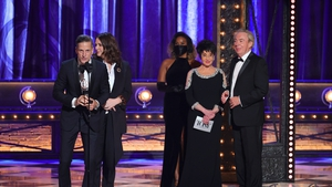 Bill Damaschke and Carmen Pavlovic accept the award for Best Musical for Moulin Rouge! The Musical from Chita Rivera and Sir Andrew Lloyd Webber onstage during the 74th Annual Tony Awards at Winter Garden Theatre in New York