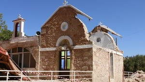 A damaged church in the village of Roussochoria in eastern Crete