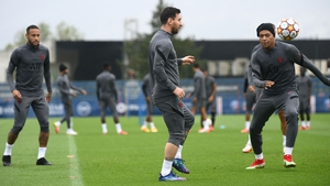Neymar, Lionel Messi and Kylian Mbappe train at Camp des Loges in Saint-Germain-en-Laye in advance of PSG's clash with Manchester City