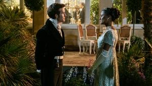 Viscount Anthony Bridgerton (Jonathan Bailey) in conversation with Kate Sharma (Simone Ashley)