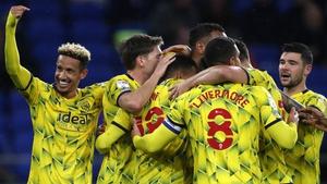 Callum Robinson (left) celebrates with his West Brom team-mates