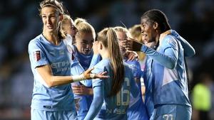 Khadija Shaw of Manchester City celebrates with Jill Scott and team mates