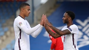 Mason Greenwood, pictured with Raheem Sterling, has not made Gareth Southgate's latest England squad