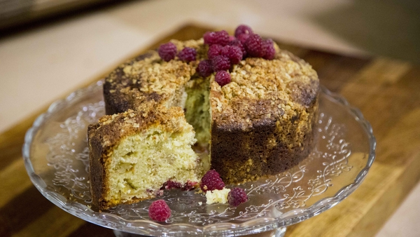 Kevin's apple and raspberry crumble cake.