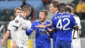 Jamie Vardy of Leicester City and Artur Jedrzejczyk of Legia Warsaw
