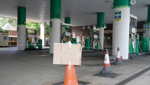 A no fuel sign at a garage in St Johns Wood, London, today