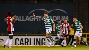 Lee Grace celebrates scoring Shamrock Rovers' first in their 2-1 win over Derry City