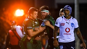 Connacht players celebrate Tom Daly's opening try in the 34-7 win