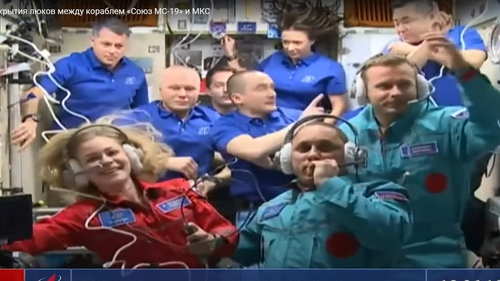 Russian actress Yulia Peresild, Roscosmos cosmonaut Anton Shkaplerov and film director Klim Shipenko aboad the International Space Station (EPA-EFE/ROSCOSMOS HANDOUT)