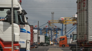 The container terminal at Belfast Port