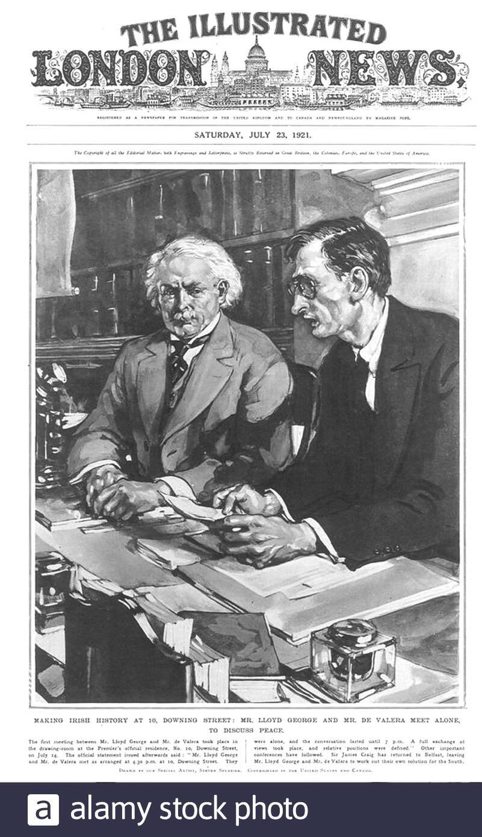 Image - Lloyd George and de Valera circled each other warily for two months before agreeing terms for talks on a Treaty (Credit: Alamy)