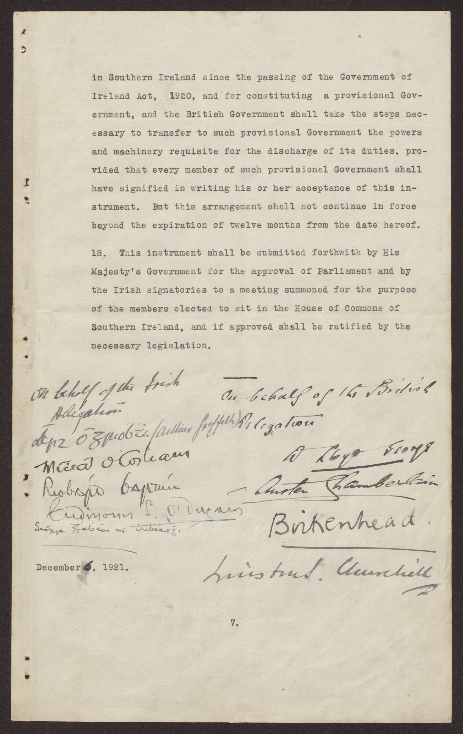 Image - The two delegations sign the treaty. (Credit: By kind permission of the National Archives)