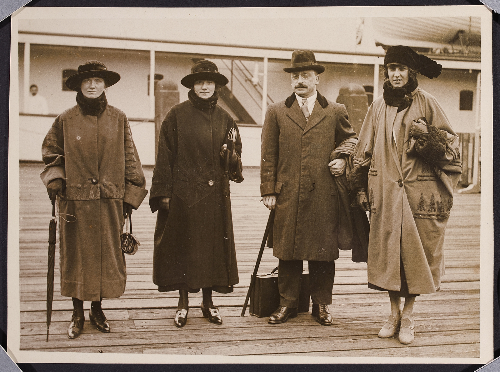Image - Arthur Griffith en route to London, with three members of the Secretariat: Ellie Lyons, Alice Lyons and Kathleen McKenna. The negotiators could not have functioned without the secretariat (Credit: National Library of Ireland)