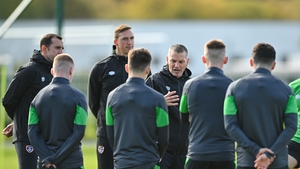Jim Crawford talks to his players during a training session on Monday
