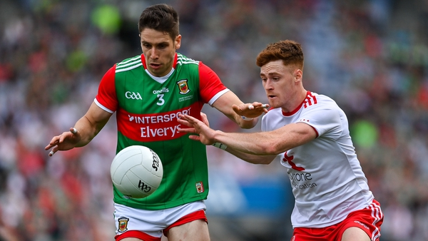 Lee Keegan and Conor Meyler contest possession in the 2021 All-Ireland final