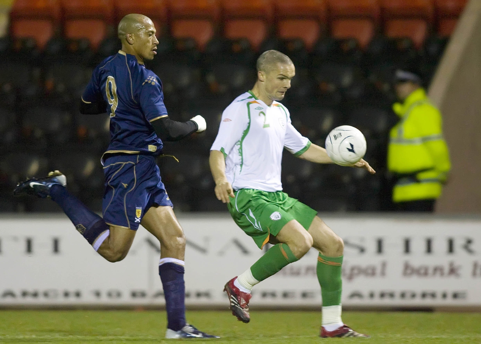 Image - Goodwin is chased down by Scotland debutant Chris Iwelumo during the 2007 B international