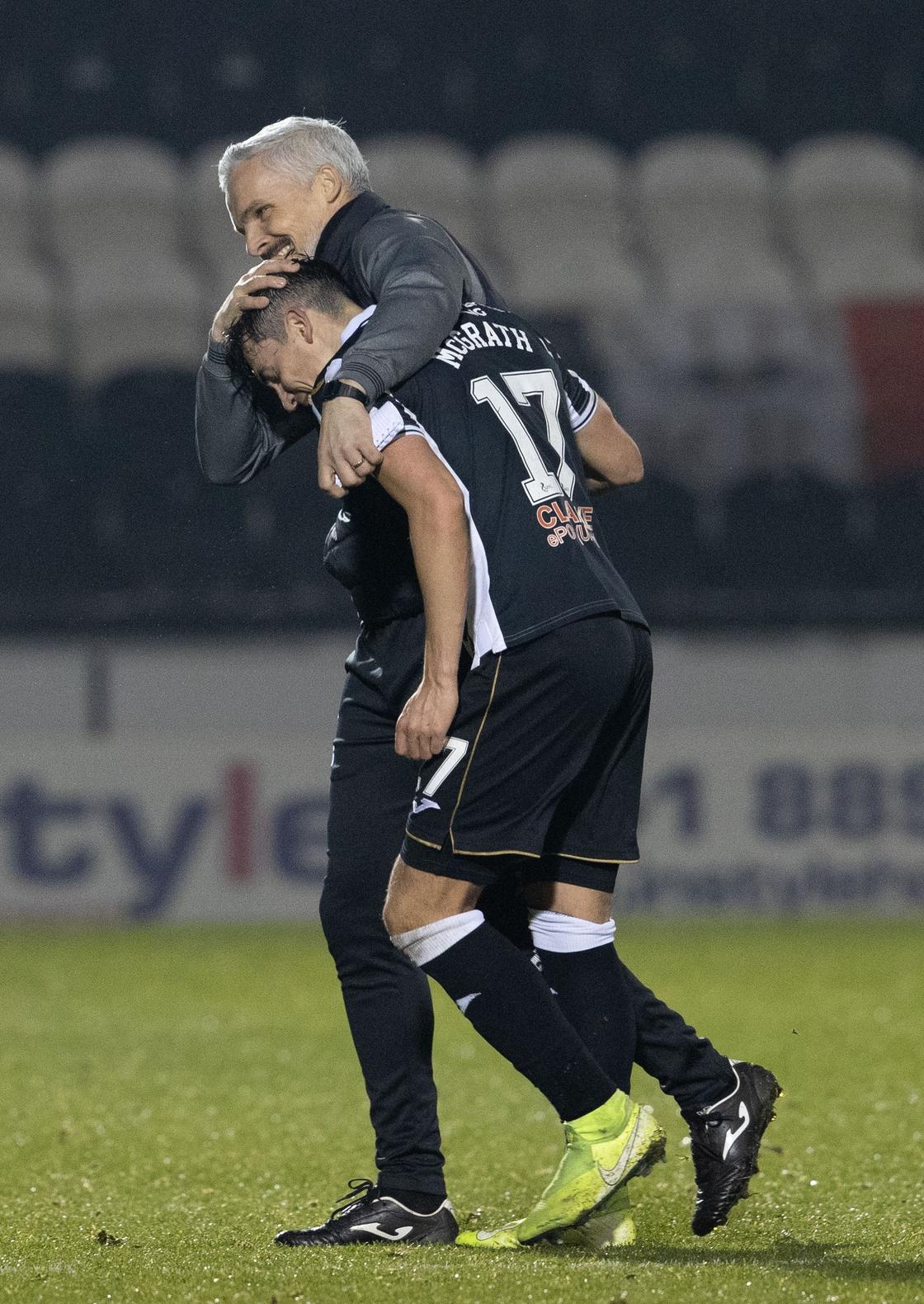 Image - Goodwin (L) congratulates Jamie McGrath after a match last November