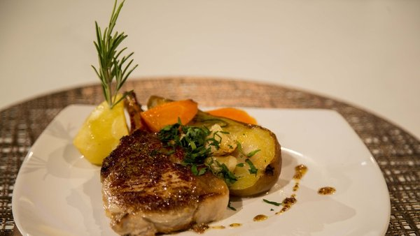 Eunice Power's pork chops with potatoes, pears and carrots