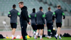 Stephen Kenny taking training on the eve of the game in Baku