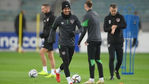 Callum Robinson looking relaxed and ready for the game while training at the stadium on Friday evening