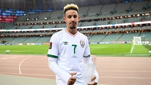 Callum Robinson of Republic of Ireland with his player of the match award
