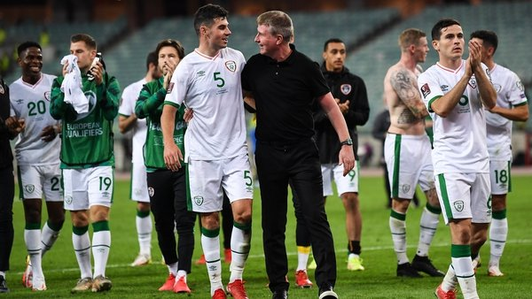 Stephen Kenny with John Egan at the end of the game in Baku