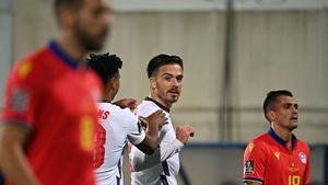 Jack Grealish celebrates his goal against Andorra