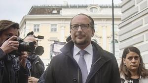 Alexander Schallenberg arrives to meet Austria's President at Ballhausplatz in Vienna