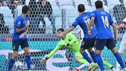 Nicolo Barella opens the scoring against Belgium