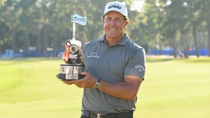 Phil Mickelson carded a 4-under 68 in Jacksonville, Florida, and finished at 15-under, two shots better than Miguel Angel Jimenez of Spain