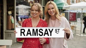 Jemma Donovan and Amanda Holden pose on the set of Neighbours