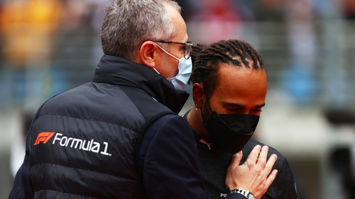 Lewis Hamilton with Stefano Domenicali, CEO of the Formula One Group, at the Turkish Grand Prix