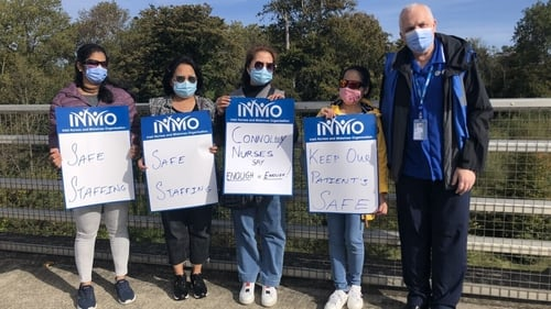 Nurses protest outside Connolly Hospital in Blanchardstown