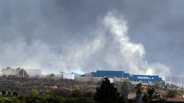 Concrete factory fire La Palma volcano