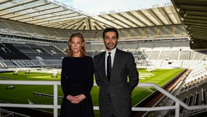 Newcastle United directors Amanda Staveley (L) and Mehrdad Ghodoussi at St James's Park