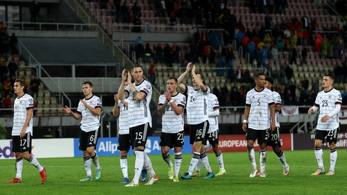 Germany celebrate their win and World Cup qualification