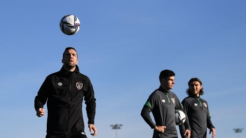 The Ireland players training in October sunshine in Dublin on the eve of the game against Qatar