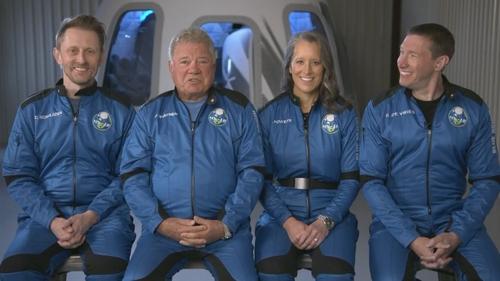 William Shatner (second left) with his fellow New Shepard crew members, Chris Boshuizen, Audrey Powers and Glen De Vries.