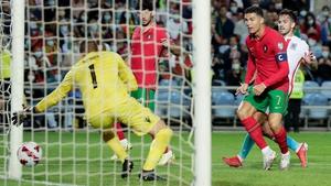 Cristiano Ronaldo scores the fifth goal