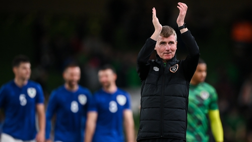 Stephen Kenny applauds the fans at the end of the game in Dublin