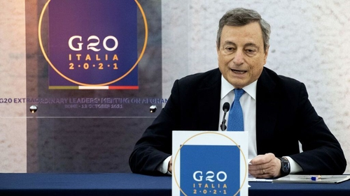 Mario Draghi speaks during a press conference following a G20 virtual summit focused on Afghanistan in Rome
