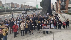 Students protest outside Dublin City Council's offices