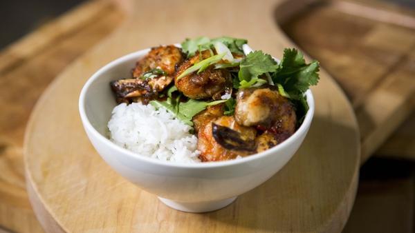 Wade's Thai garlic & chili prawns: Today