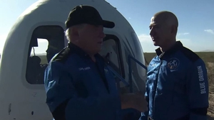 William Shatner and Jeff Bezos chat after the space flight (Pic: Blue Origin)