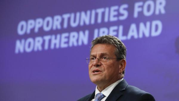 EU's chief Protocol negotiator Maros Sefcovic giving his speech today