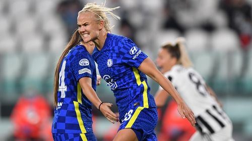 Pernille Harder celebrates her goal